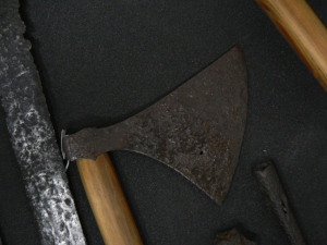 Danish axe with reproduction haft in the Royal Armoury in Leeds